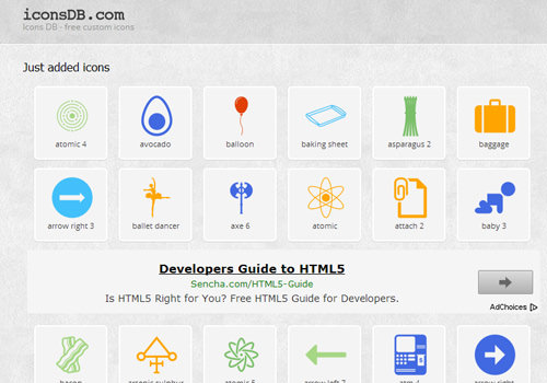 Icons DB database website webapp online tools resource