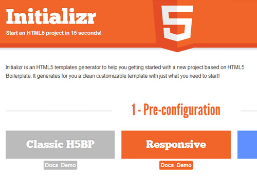HTML5 project initializer website webapp initialize
