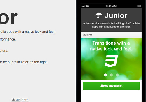 HTML5 Junior framework freebie open source download