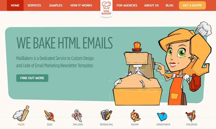 mail bakery website homepage
