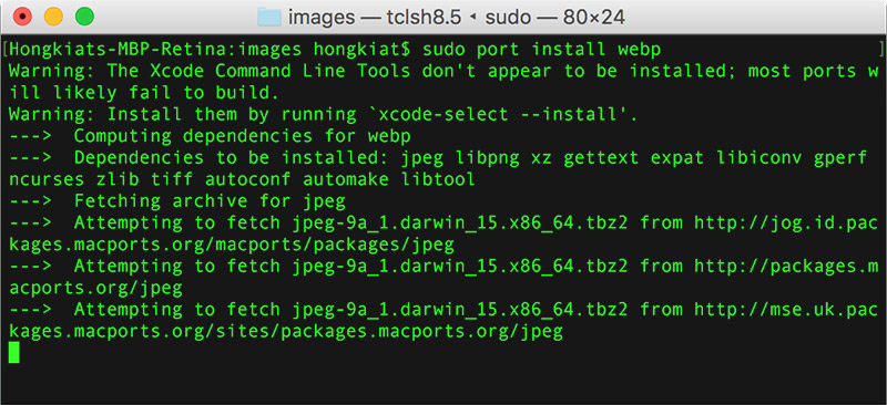 sudo port install webp