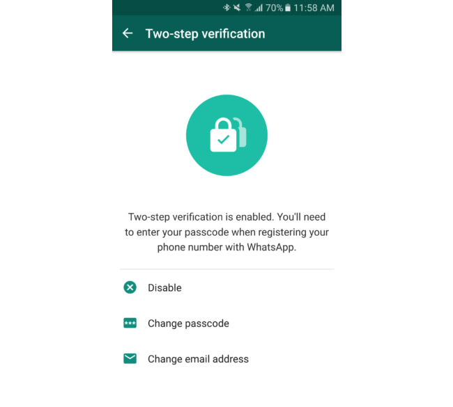whatsapp two steps verification enabled