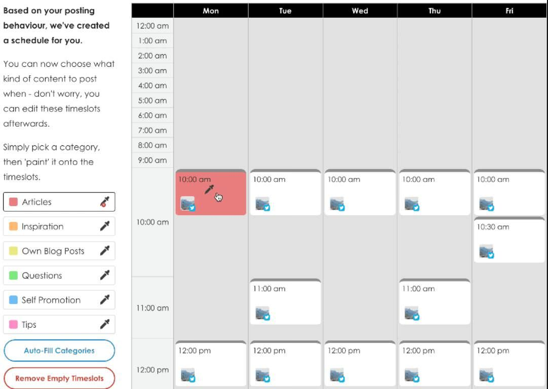 SmarterQueue scheduling screen