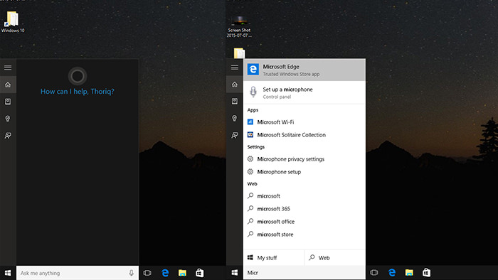 Searching apps through cortana