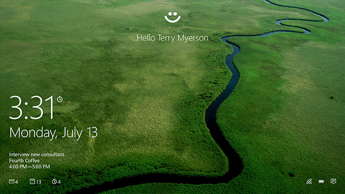 Windows Hello eye in the lock screen