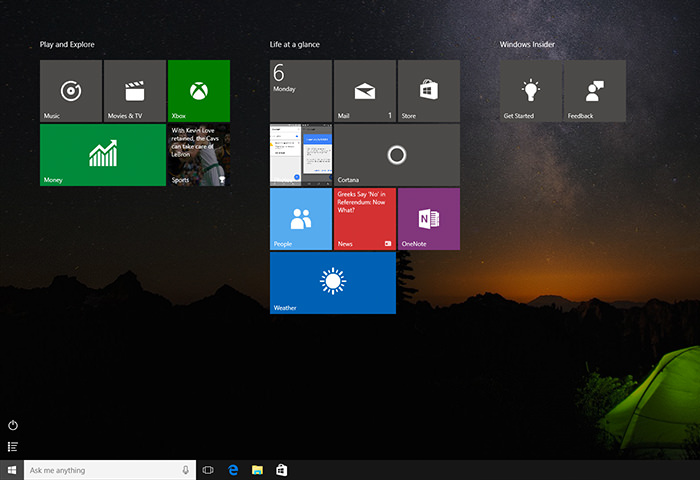 The start menu going full screen