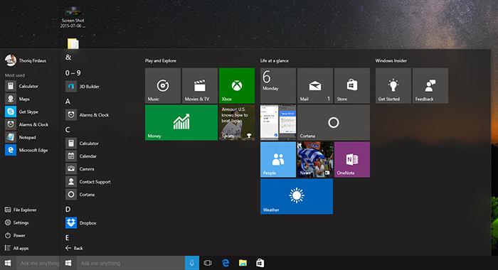 New Start Menu in Windows 10