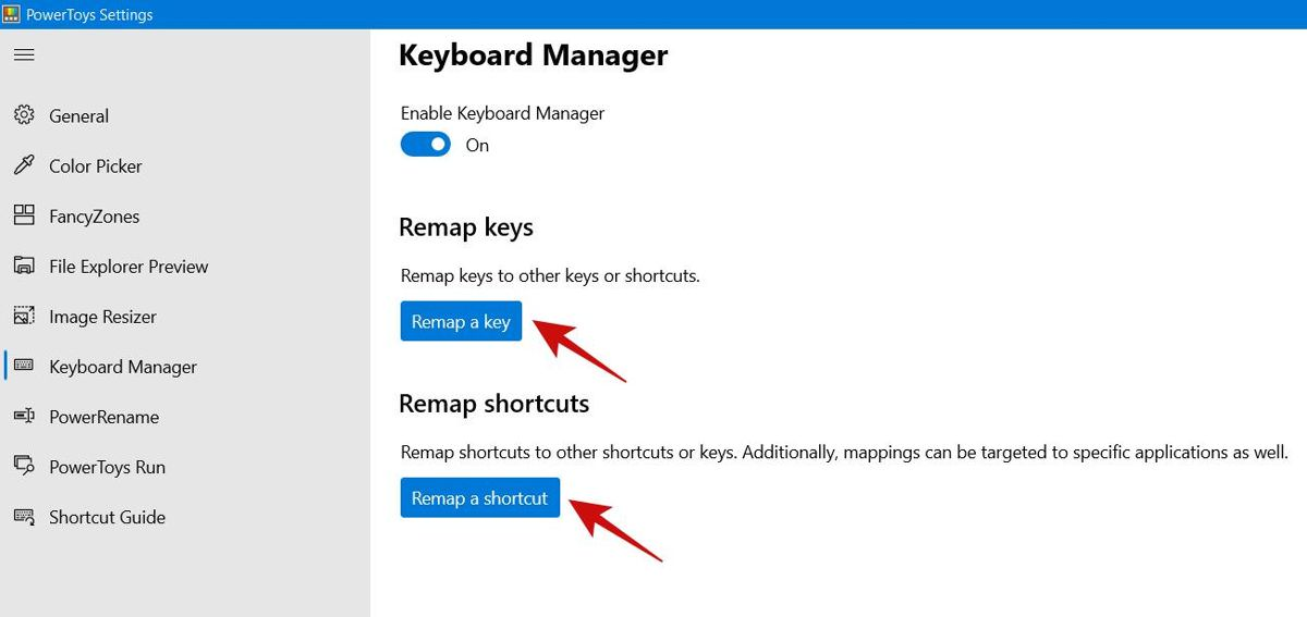 Keyboard Manager PowerToy in Windows 10