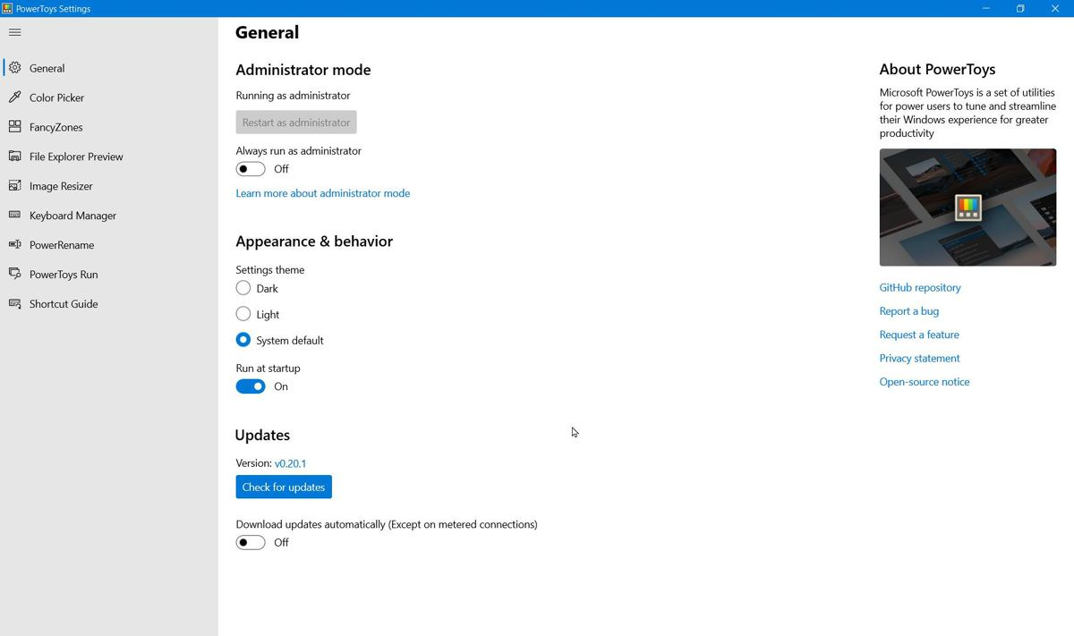 PowerToys Settings in Windows 10