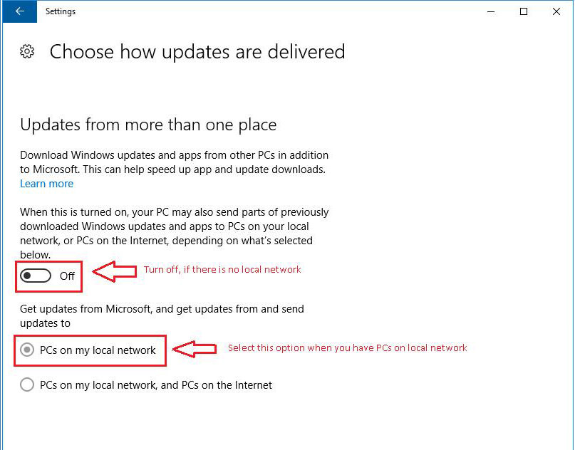 Choose how updates are delivered