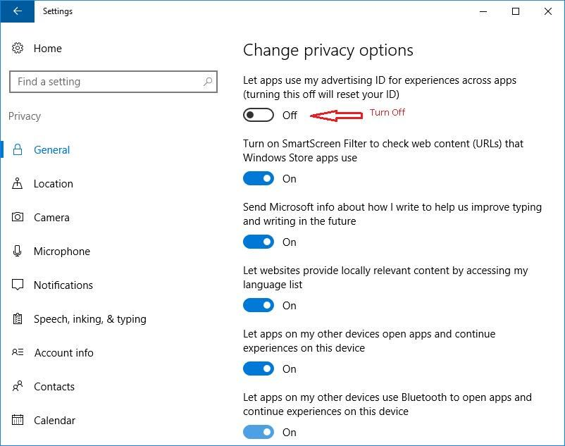Change Privacy Options for Advertising ID