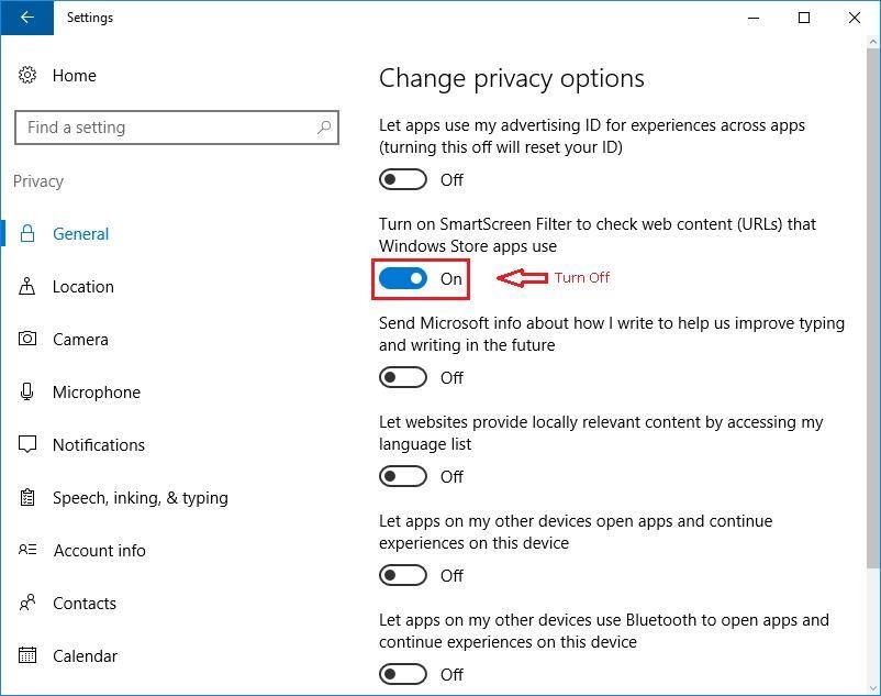 Change Privacy Settings - SmartScreen Filter