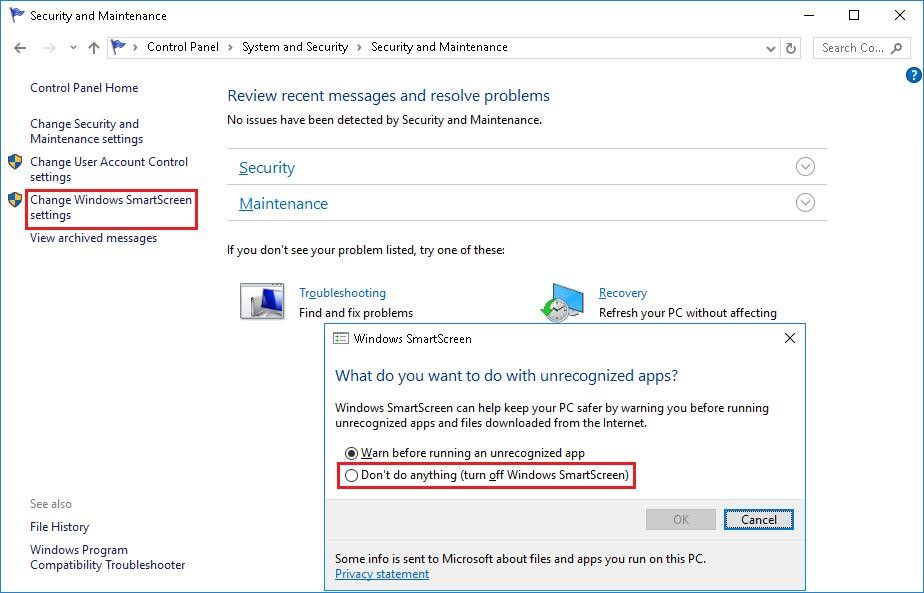 Change Windows SmartScreen settings
