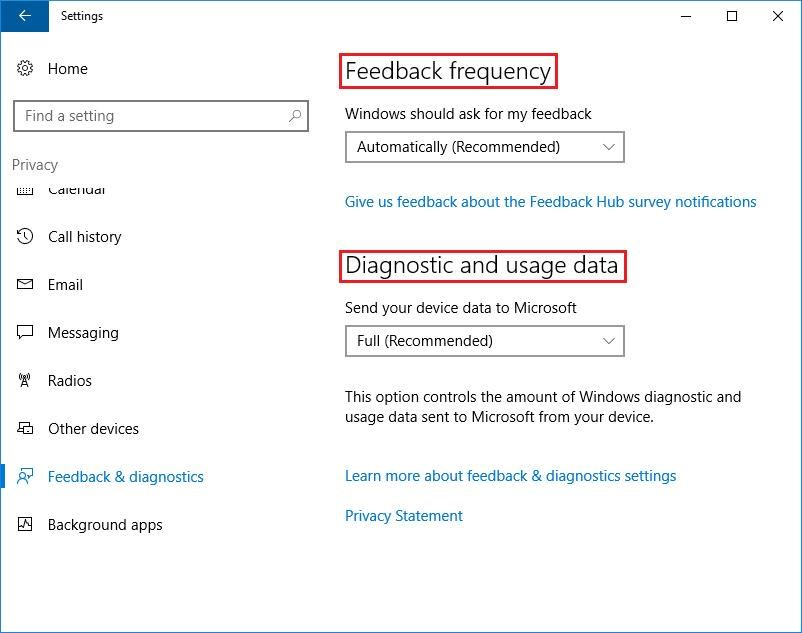 Feedback and diagnostics settings