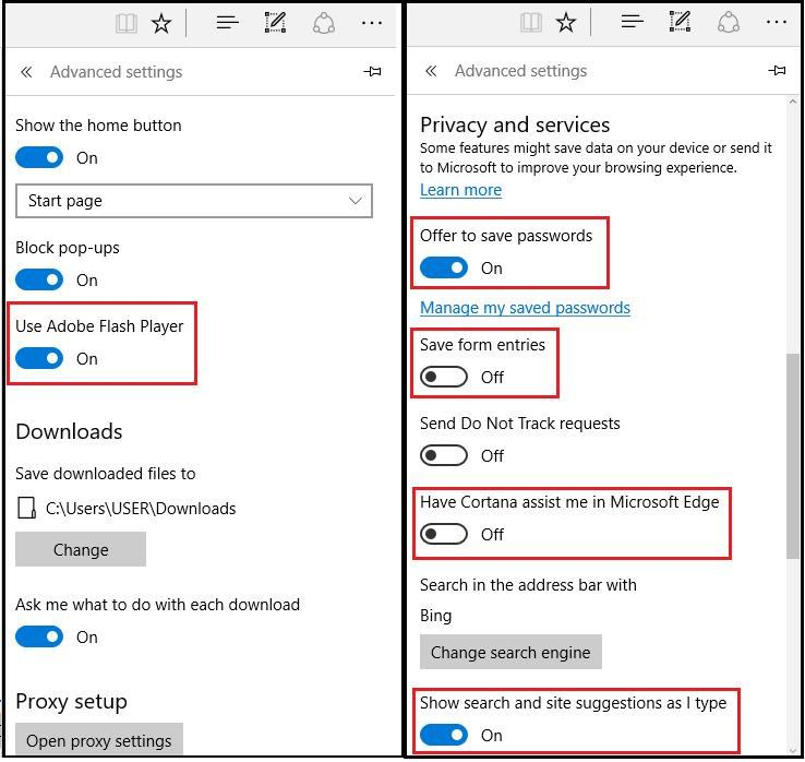 Microsoft Edge - Advanced Settings
