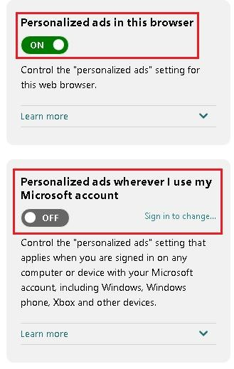 Opt Out of the Personalized Ads