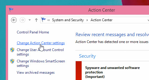 Click On Change Action Center settings