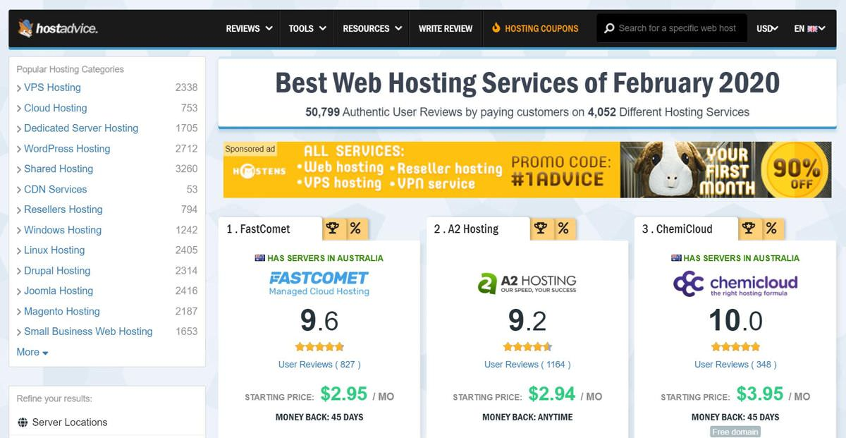 HostAdvice - the best hosting review service
