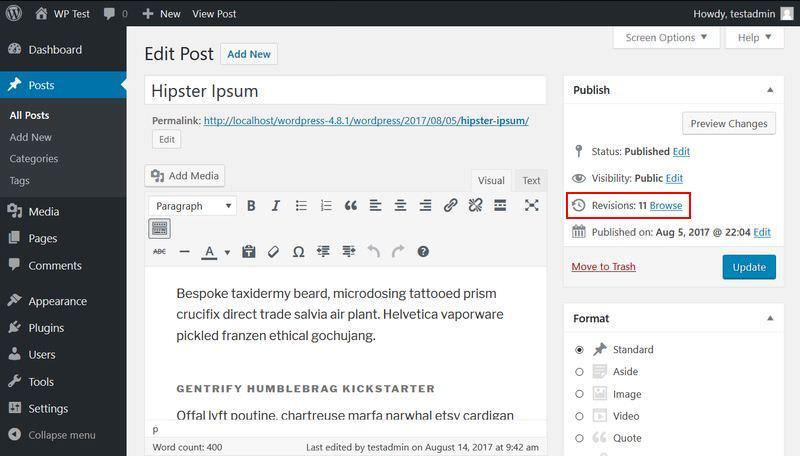 Browse revisions menu in WordPress admin