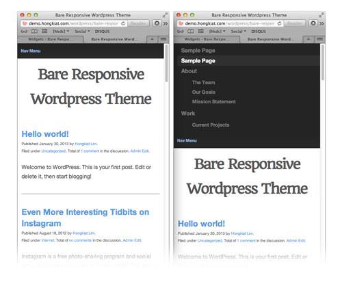 Hongkiat Bare Responsive theme - mobile responsive navigation screenshot