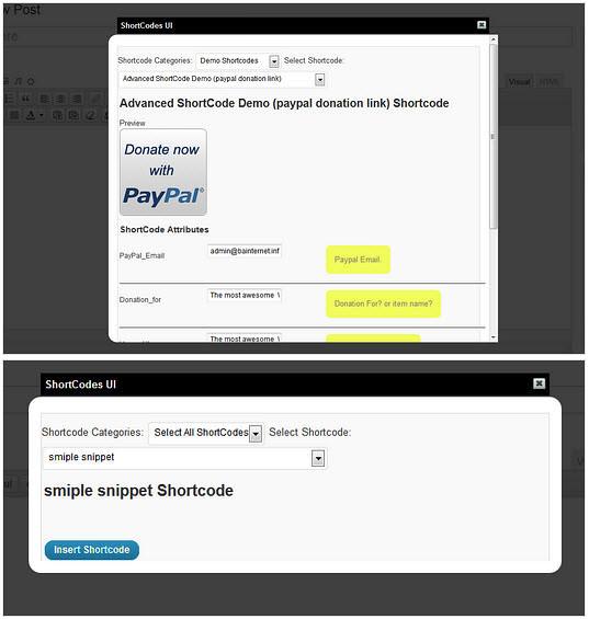 ShortCodes UI WordPress Plugin