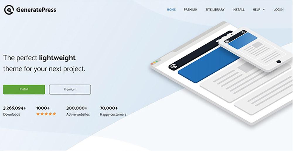 GeneratePress website homepage