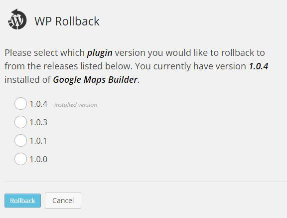 wordpress rollback