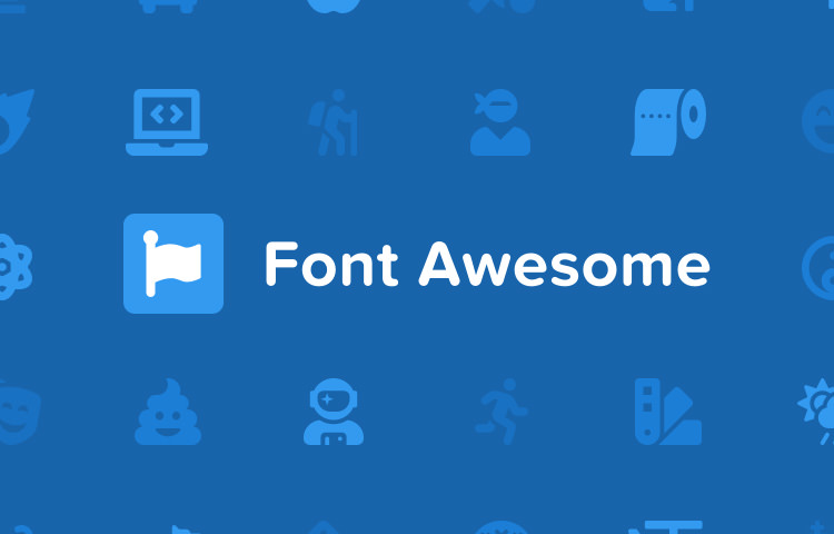 Логотип FontAwesome и некоторые значки синего цвета