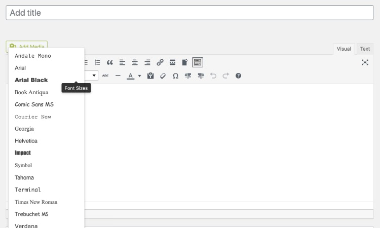 UseAnyFont tool in the WordPress editor