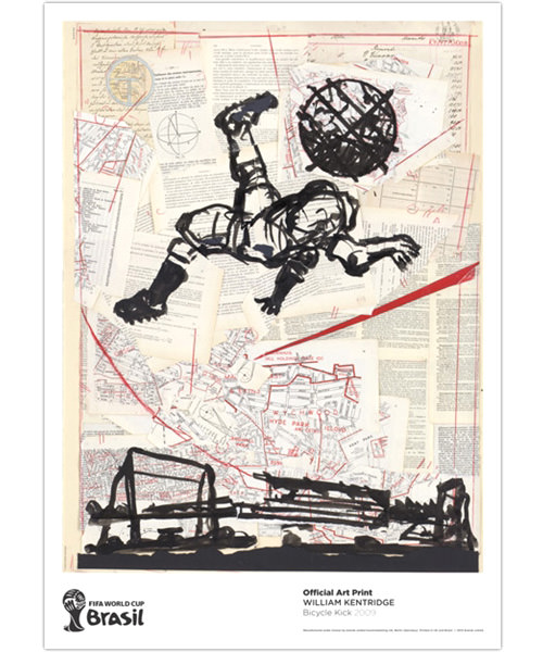 "2014 FIFA World Cup Brazil William Kentridge ""Bicycle Kick"" Official Art Print"
