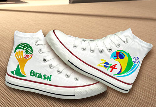 Hand Painted Brasil 2014 FIFA World Cup Converse Shoes