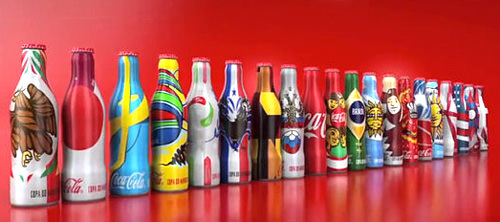 Miniature Coca-Cola Bottles Aluminum FIFA 2014 World Cup Complete Set