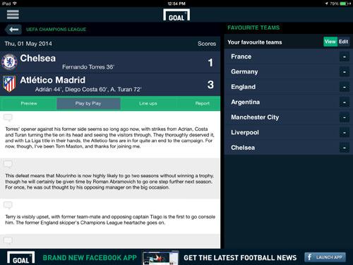 Goal.com iPad App