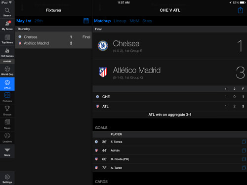 theScore Mobile iPad