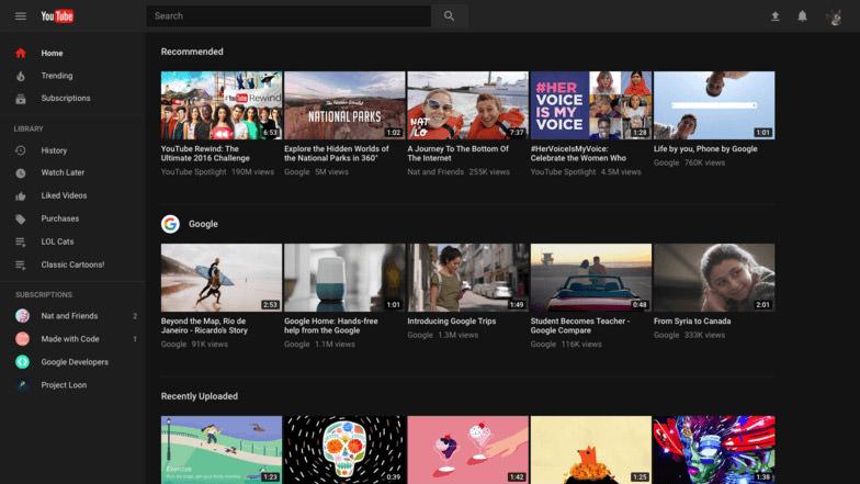 youtube new new design dark theme
