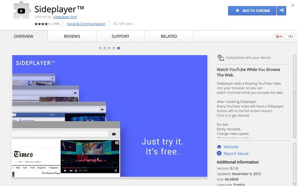 Sideplayer Chrome Extension