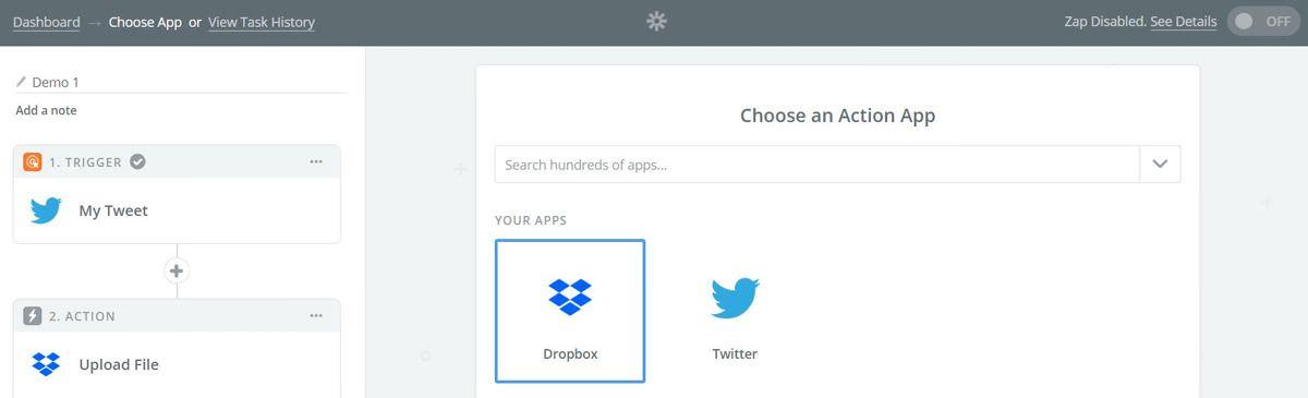 Choose an action app inside Zapier