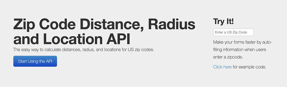 zip code api homepage